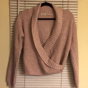 Light pink wrap knit sweater